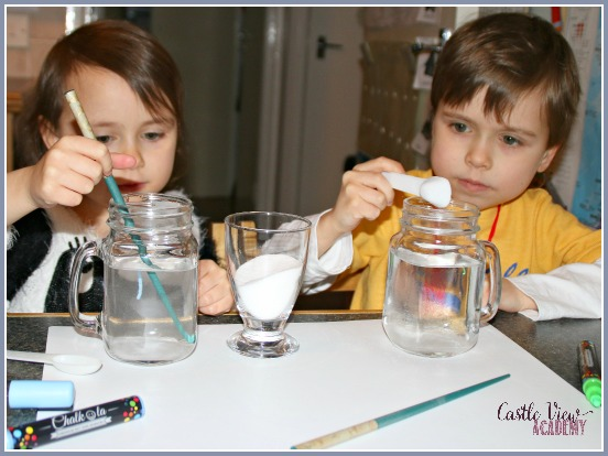 mixing salt with water to learn about dissolving and saturation