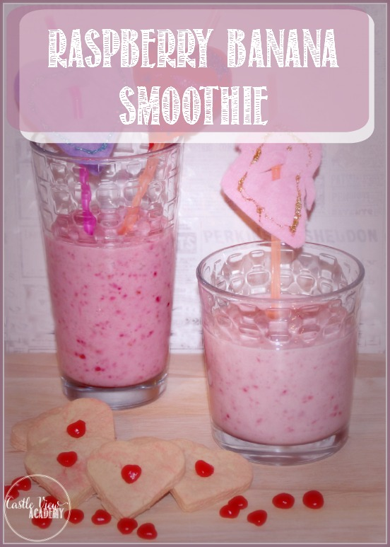 Make a healthy raspberry banana smoothie for your loved ones. Recipe by Castle View Academy