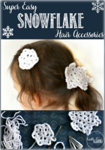 Super easy crochet snowflake hair accessories for winter and for children who love Frozen by Castle View Academy