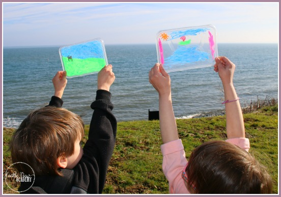 ARt class by the sea with our art travel kit and chalk markers