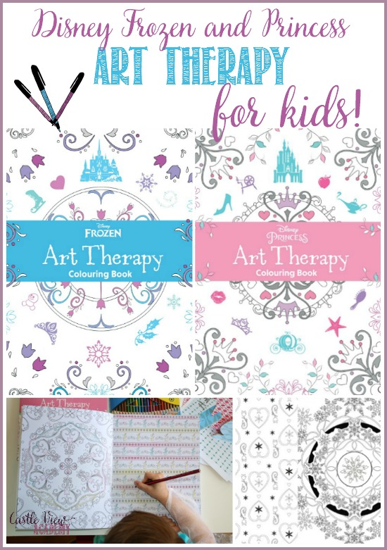 Disney's Frozen and Princess Art Therapy books for kids! See what's in them and how my daughter liked them at CastleViewAcademy