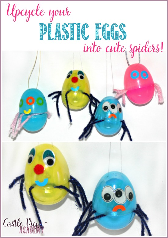 Upcycle your leftover plastic eggs into cute spiders with CastleViewAcademy