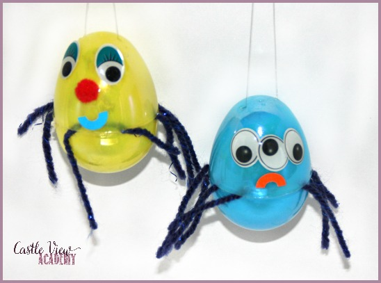 What to do with plastic Easter eggs Turn them into cute little spiders with CatleViewAcademy!