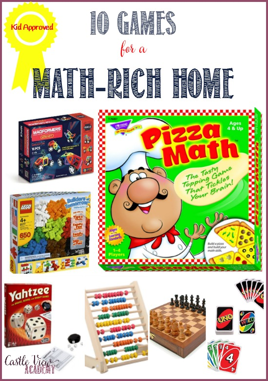 10 math games for a math-rich home that are kid-approved by Castle View Academy