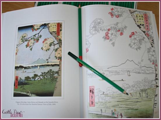 Japanese Wood Block Print drawing and coloring