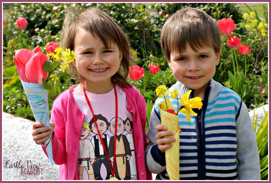 A kid made posy wrap is perfect for Mother's Day or to use as simple gifts for neighbours