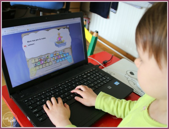 Learning keyboard skills for homeschool kindergarten at CastleViewAcademy
