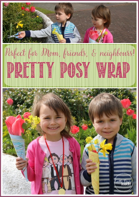 Pretty kid-made posy wrap for flowers by Castle View Academy. Perfect for boquets for mom, grandma, friends, family and neighbours!