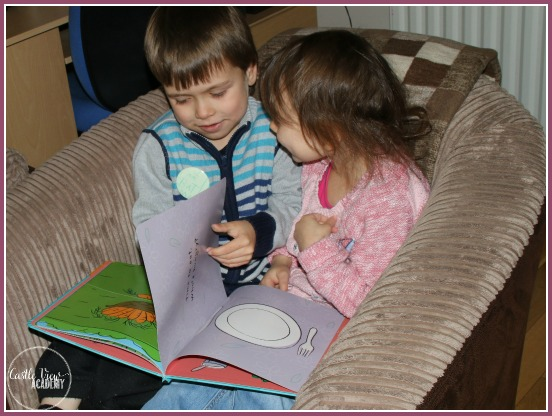 Reading time at CastleVewAcademy and the flip the flap book, Who's Hungry