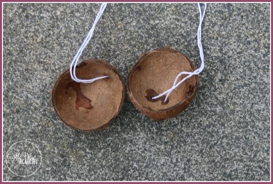 coconut shell birdfeeders in progress