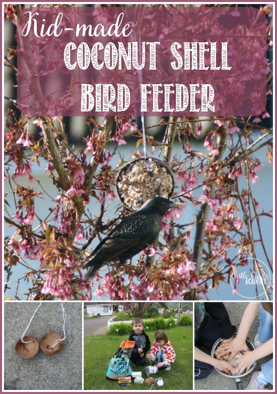 kid-made Coconut bird feeder is easy to make with CastleViewAcademy