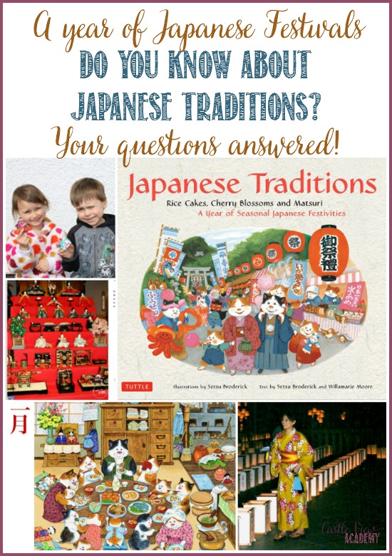 Do you know about Japanese traditions? Here are a year of Japanese festivals and the mearnings behind them answered for children (and adults who want to know). A review by Castle View Academy for Tuttle Publishing Japanese Traditions: Rice cakes,cherry blossoms and matsuri: A year of seasonal Japanese Festivities