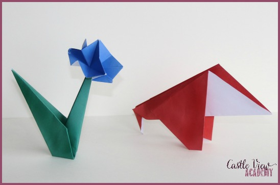 Flower and anteater origami by Castle View Academy