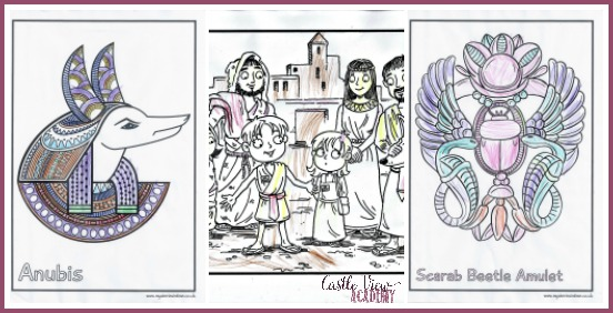 Ancient Egypt colouring pages from Mysteries in Time
