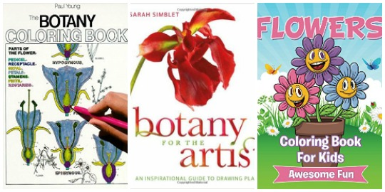 Flowers and botany coloring books