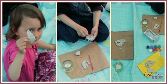Making Egyptian amulets while camping with Castle View Academy