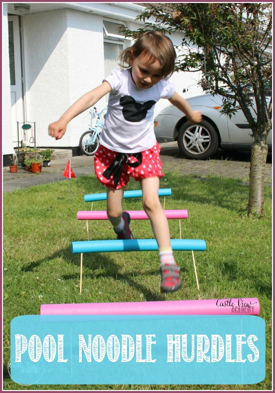 Pool noodle hurdles are great excercise at Castle View Academy are loads of fun, great for motor skills, and easy to make, too! (Not to mention, they tie into the Summer Olympics)