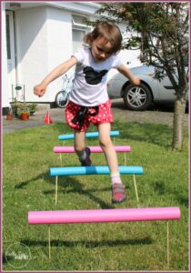 Pool noodle hurdles are great excercise at Castle View Academy.com