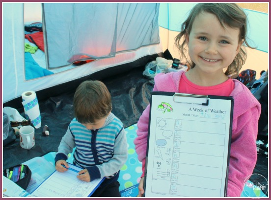Tracking the weather with Notebooking Pages during a camping trip at Castle View Academy