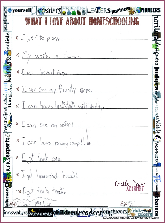 What my 8 year old son loves about homeschooling at Castle View Academy