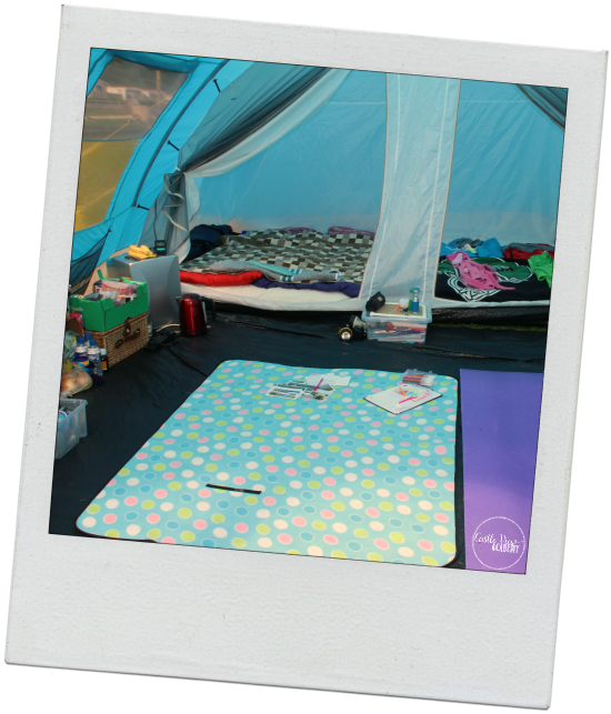 Add some fine touches to a tent to glamp it up - a fridge and air mattresses are great