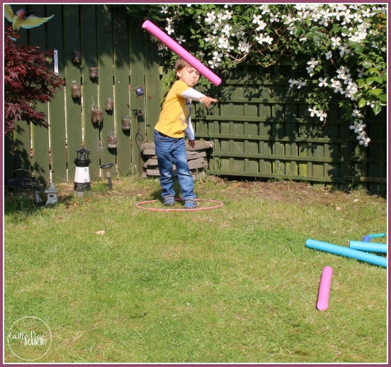 Backyard Olympics javelin throw at Castle View Academy