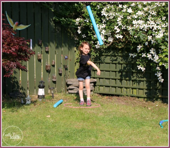 Back yard javelin throw with Castle View Academy