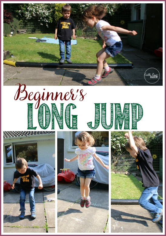 Beginner's Long Jump in our back yard sports dayFamily Olympics at Castle View Academy. Great fun for everyone!