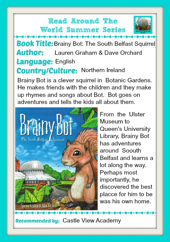 Brainy Bot The South Belfast Squirrel is Castle View Academy's choice for the Read Around The World Summer Series