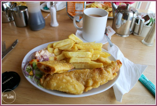 Fish and Chips at John Bridgee's Cafe in Falcarragh, Co. Donegal, Ireland with Castle View Academy Top 10 things to do in North West Donegal
