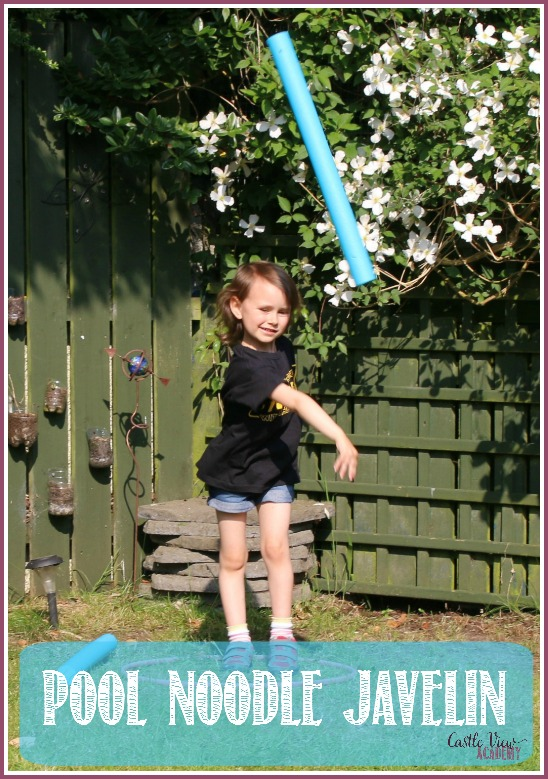 It's time for the back yard Summer Olympics at Castle View Academy! Today it's the pool noodle javelin throw!