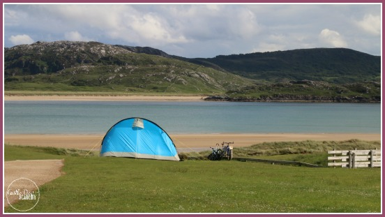 Our tent in Rosguill Holiday Park, right near the beach on the Wild Atlantic Way of Ireland with Castle View Academy