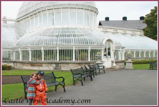 Palm House in Belfast Botanic Gardens and Castle View Academy