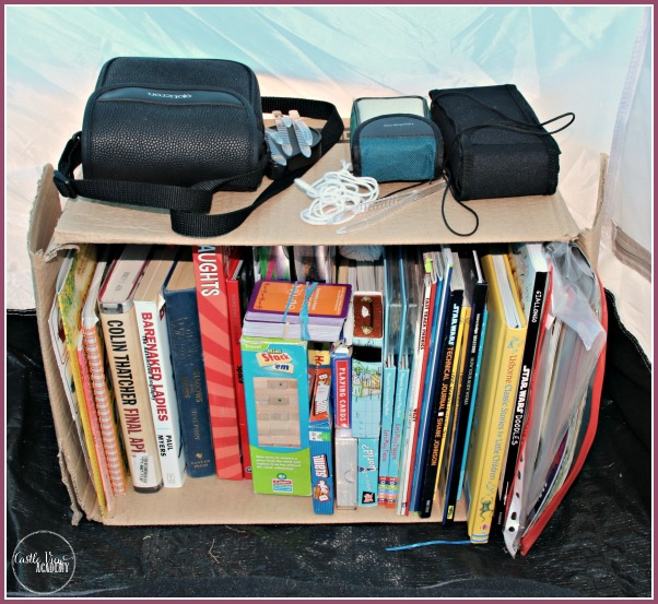 Glamping bookshelf, makes camping an organised experience with Castle View Academy