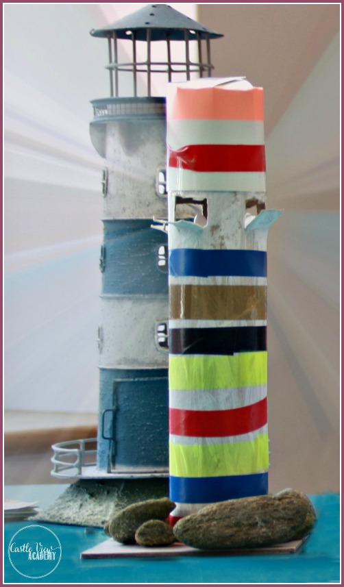 Kid-made lighthouse at Castle View Academy is made from cardboard tubes, electrical tape and tealights