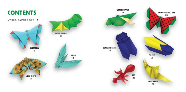 Some of the origami bugs you can make with Tuttle Publishing
