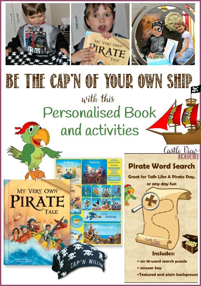 Be the Cap'n of your own ship with this personalised book and activities for Talk Like a Pirate Day at Castle View Academy