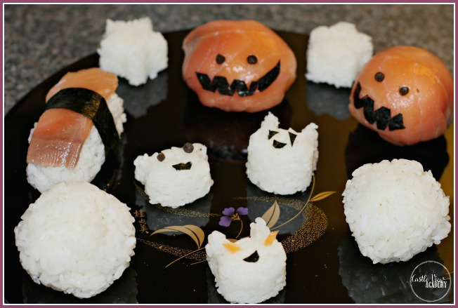 Japanese food fun for Halloween with Jack-O-Lantern Sushi at Castle View Academy