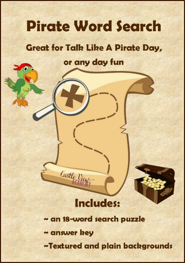 Pirate Word Search for Talk Like A Pirate Day by Castle View Academy