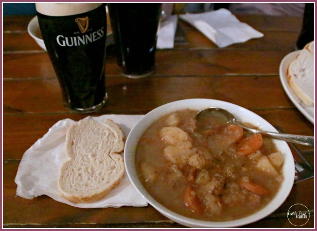 A delicious Irish Stew in Belfast when Castle View Academy had lunch with visiting family