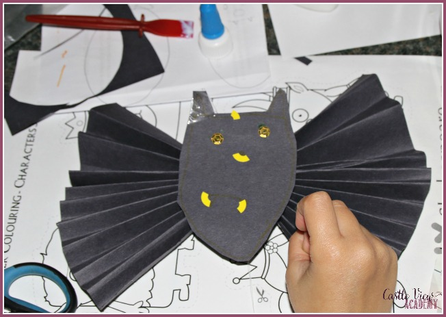 Paper bats with character at Castle View Academy