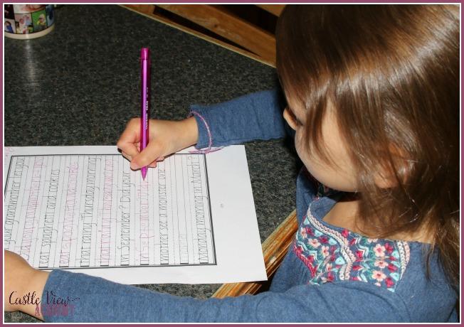 Practicing italic handwriting