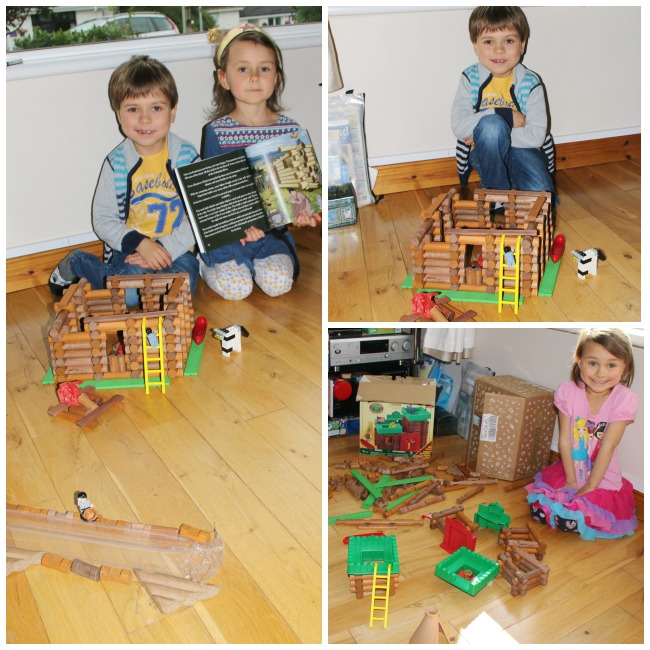 Using Lincoln Logs to build a house from the American West at Castle View Academy