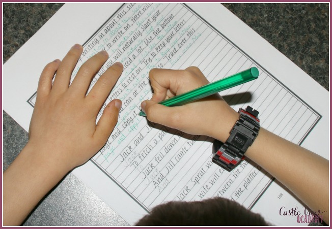 handwriting practice at Castle View Academy