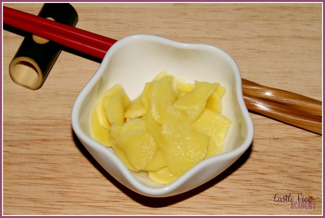 Castle View Academy homeschool makes pickled ginger