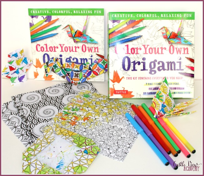 Colour Your Own Origami by Tuttle Publishing and enjoyed at Castle View Academy homeschool