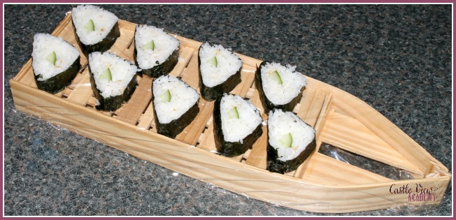 Cucumber rolls from Vegetarian Sushi Secrets at Castle View Academy homeschool