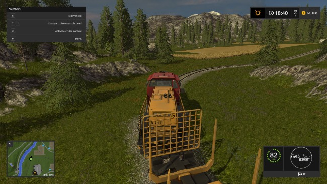Driving trains in Farming Simulator 17 at Castle View Academy homeschool