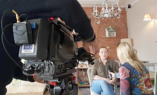 Ela, Gordon's wife, being interviewed about her thoughts on the trip from Leeds to Poznan