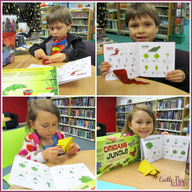 Folding origami jungle animals at the library with Castle View Academy homeschooling